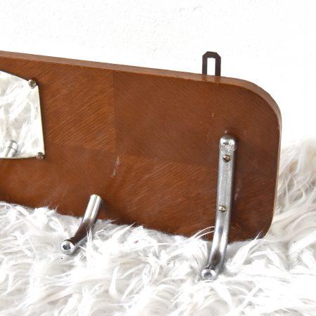 Retro houten kapstok met chrome en spiegel, jaren 60